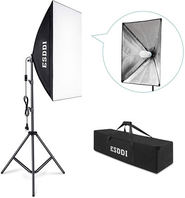 ESDDI Softbox Eclairage Vidéo avec 1x50x70cm Softbox Kit, 2m Ajustable Softbox
