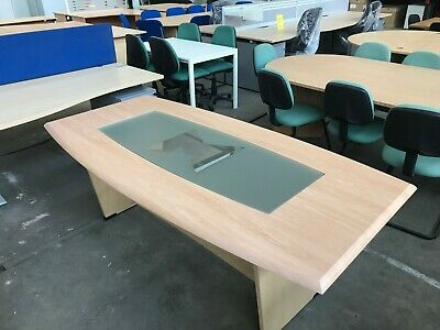 Beech Barrel Shaped Boardroom Table 200 x 100 cm, Conference, Meeting, Office