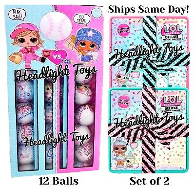 2 LOL Deluxe Present Surprise Dolls & Pets + 12 All Star B.B.s Baseball Balls
