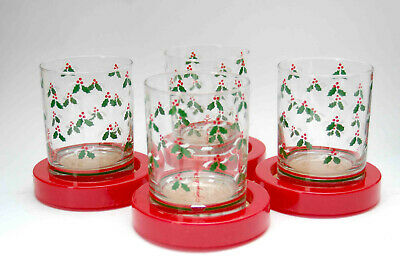 Vintage 8 Piece Georges Briard Christmas Holly Old Fashioned Rock Glass With Box