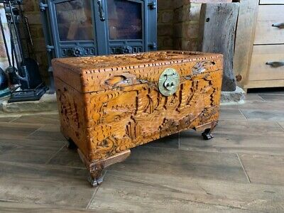Antique Chinese Carved Wood Trunk Oriental Carved Chest Blanket Box
