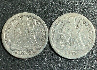 (2) Seated Liberty  Dimes 10c NICE BETTER DATES 1853,  1871