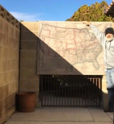 """BACON'S SLAVE MAP of America Political, Historical & Military 63"""" x 45"""""""