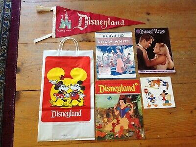 Vintage 1960's Disneyland California Felt Pennant & Bag &Music&Stickers& News
