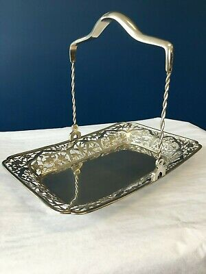Antique CHINESE EXPORT Sterling Silver Pierced Swing Handle Basket YUCHANG