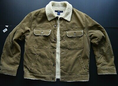 Gap Sheepskin Style Trucker Brown Corduroy Jean Denim Style Jacket Size: Medium