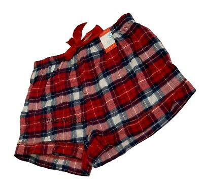 Red Tartan Ladies Shorts Pants Love To Lounge Women's Pyjama Pj's Primark (S-XL)