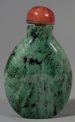 China Chinese Jade w/ Coral & Mother Pearl Stopper Snuff Bottle ca. 20th c.