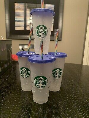 Qty 4! Starbucks Confetti Color Changing Cup  Rainbow Straw Pride Summer 2020
