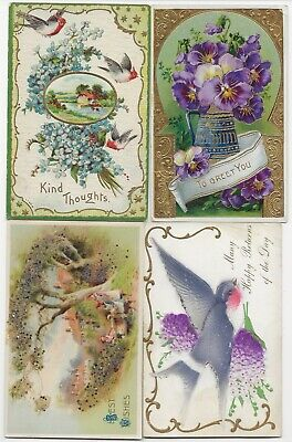 4 Vintage Embossed Greeting Postcards. Birds, Flowers & Etc.