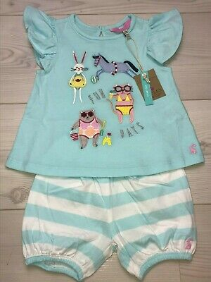 Joules Baby Girls t-shirt and shorts set 6-9 months RRP £24.95