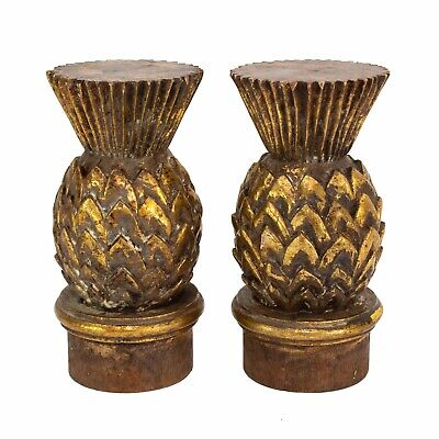 Pair of Large Wood Carved Pineapple Finials Newel Post Architectural Tops 9""