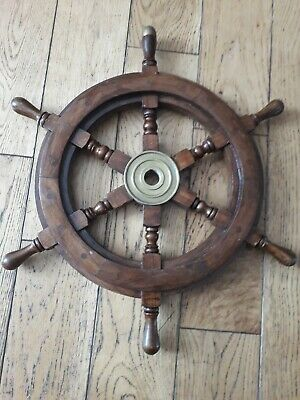 Wooden Ship Steering Wheel With Brass Placard 18.5 Inches