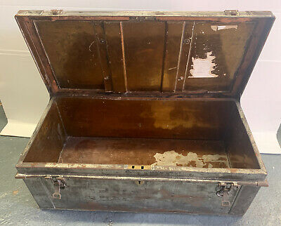 Antique Old Rustic Metallic Storage Tool Box With Handles