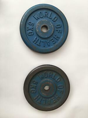 "World of Health Cast Iron Weight Plates 2x 5kg for 1"" Dumbbell Weight Lifting"
