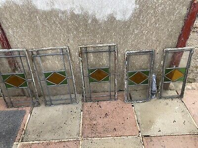 Beautiful Vintage Stained Lead Glass Panels X5 Art Deco Style Original