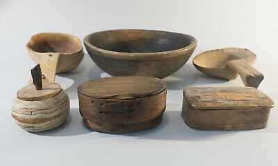 Antique Swedish Handmade Wooden Containers Tina Boxes, Kuksa, Plate /Bowl Folk
