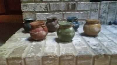 Decorative/Unique Small Hand Painted Clay Vases - Set of 6 - VG+++