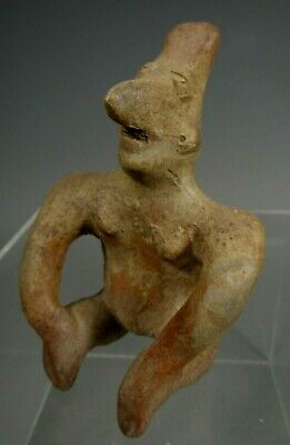 Pre-Columbian Jalisco Mexico Pottery Seated Figure of a Man ca. 300BC-300AD