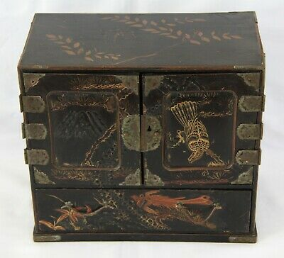 Charming Antique Japanese Black Lacquer Table Cabinet c.1890