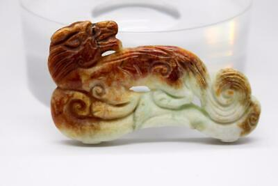 Vintage  Chinese  Hand Carved  Jade Lion Pendant Red To Yellow Green