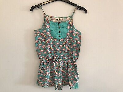 Fat Face Girls Playsuit, Green & Pink Flamingo Design, Age 10-11 Yrs
