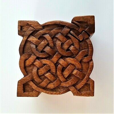 Hand Carved Wooden Trinket Jewellery Puzzle Box, Square Celtic Design Shrine