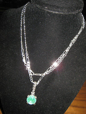 STEPHEN DWECK STERLING SILVER  PENDANT  GREEN MAYBE SIMULATED STONE chain