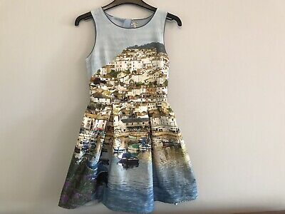 Next Girls Summer Dress, Light Blue with Coastal Harbour Design, Age 12 Yrs