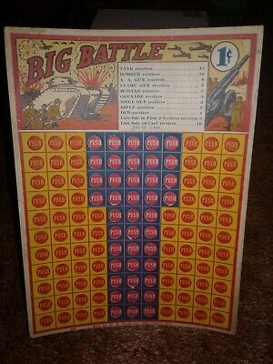Vintage BIG BATTLE 1-CENT  PUNCH BOARD GAME - UNUSED / UNPUNCHED CARD! WW1?