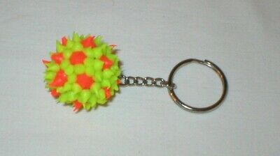 Yellow Rubber Ball with Orange Rubber Points Key Chain Key Ring - Unique - New