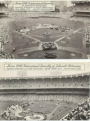 1958 lot of 2 postcds Jehovah's Witnesses International Assembly Yankee Stadium