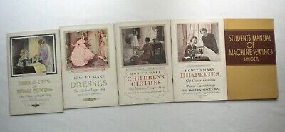 """5 Vintage Singer """"How to Sew"""" Books/Manuals/Children Clothes/Dresses/Drapes/More"""
