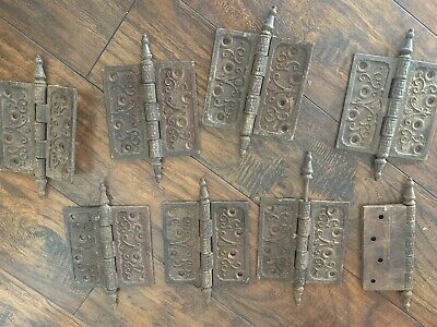 Set 8 Fancy Antique Vintage Victorian Cast Iron Steeple Pin Door Hinges Ornate