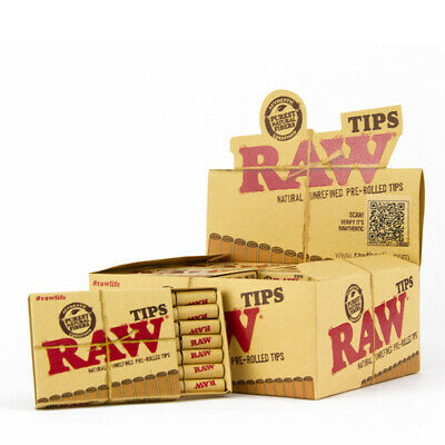 Raw Natural Unrefined Pre-Rolled Tips Full Box 20 Packs 21 Per Pack