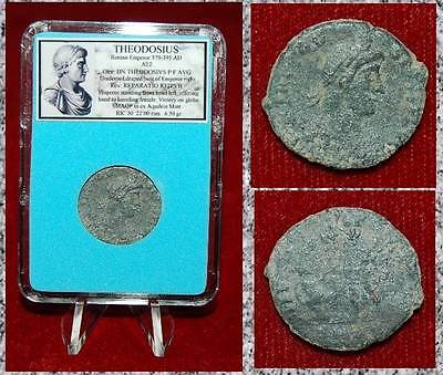 Ancient Roman Empire Coin Of THEODOSIUS Emperor Offering Hand To Kneeling Female