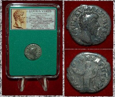 Ancient Roman Empire Coin LUCIUS VERUS Providentia With Globe Silver Denarius
