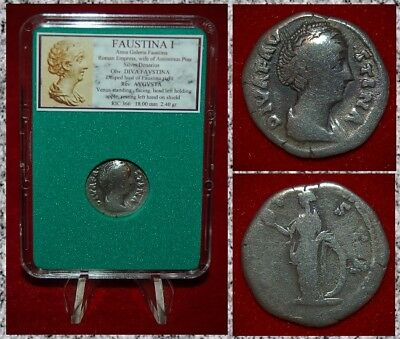 Roman Empire Coin FAUSTINA I Venus Holding Apple On Reverse Silver Denarius