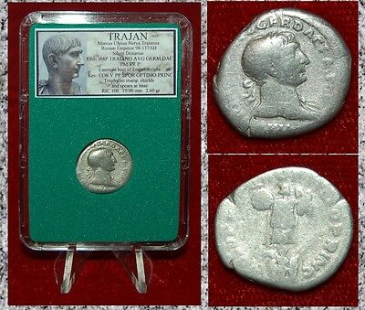 Ancient Roman Empire Coin TRAJAN Trophy On Reverse Silver Denarius