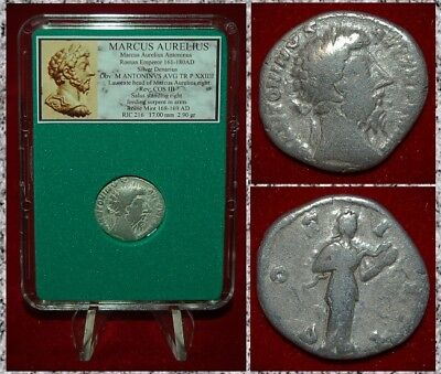 Roman Empire Coin MARCUS AURELIUS Salus With Snake On Reverse Silver Denarius