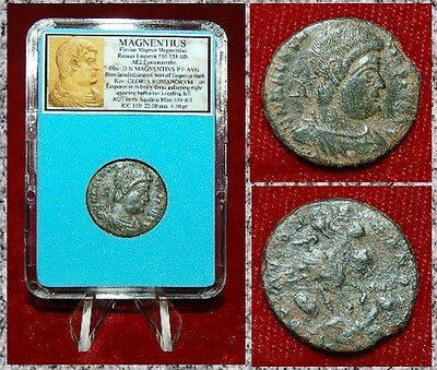 Ancient Roman Empire Coin Of MAGNENTIUS Emperor On Horse Spearing Barbarian