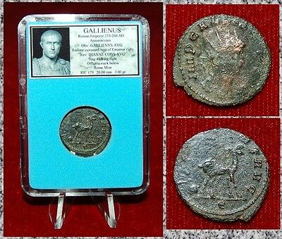 Ancient Roman Empire Coin GALLIENUS Stag On Reverse Antoninianus