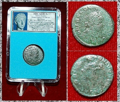 Ancient Roman Empire Coin Of ARCADIUS Emperor Holding Labarum And Globe Reverse