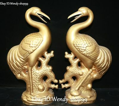 Old China Color Porcelain Gold Gilt Cranes Bird Longlife Animal Statue Pair