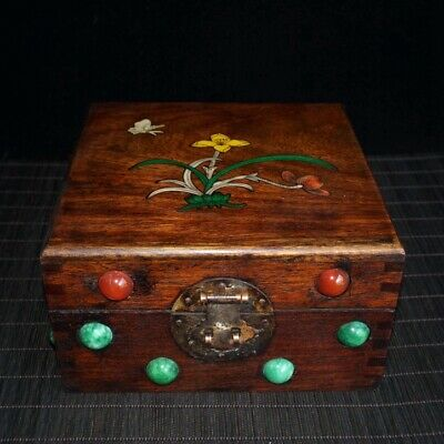 Collectable China Old Boxwood Color Shells Copper Hand-Carved Noble Storage Box