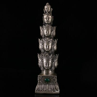 Collect China Old Miao Silver Mosaic Agate Carve Kwan-yin Buddhism Lucky Statue