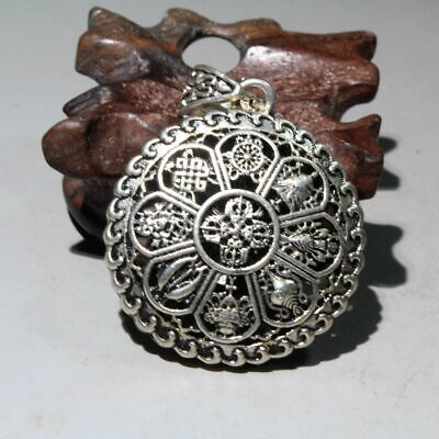 Collectable Chinese Tibet Culture Old Miao Silver Hand-Carved Hollow Out Pendant
