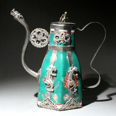 Collectable Miao Silver Franz Porcelain Hand-Carved Dragon Phoenix Noble Teapot