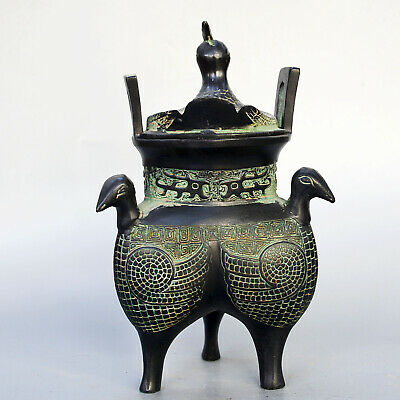 Qianlong Years Collectable China Old Bronze Hand-Carved 4 Peacock Noble Censer