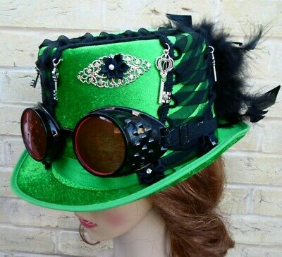 Unique Green Steampunk Top Hat Goggles Keys Feathers Corset (K)
